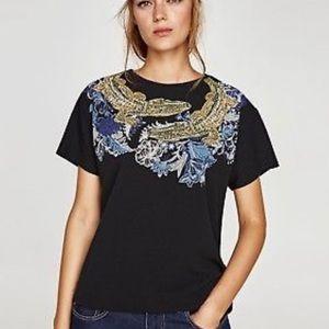 Zara Alligator Graphic Black Box Short Sleeve Top